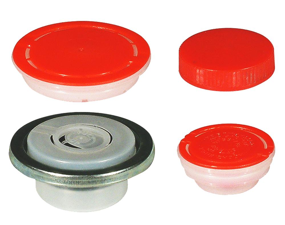 Sont disponibles fermetures de goulots, en plastique ou en métal pour emballages à ouverture partielle et à ouverture totale.